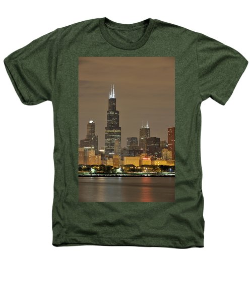 Chicago Skyline At Night Heathers T-Shirt by Sebastian Musial