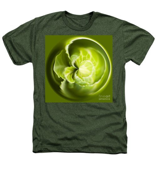 Green Cabbage Orb Heathers T-Shirt by Anne Gilbert