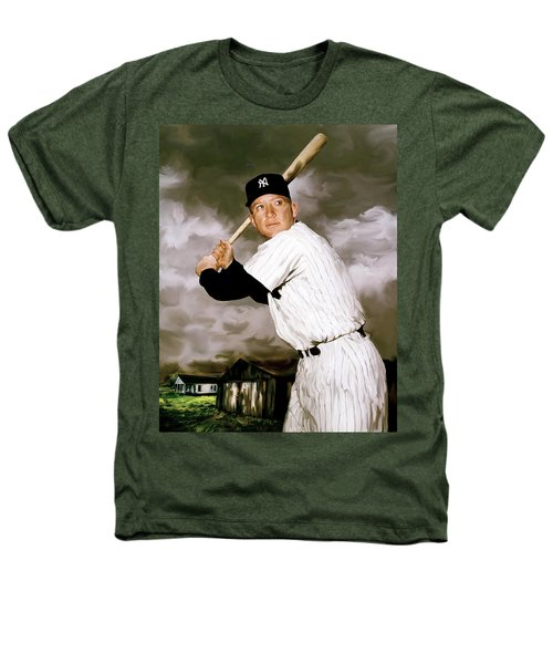 American Fabric   Mickey Mantle Heathers T-Shirt by Iconic Images Art Gallery David Pucciarelli