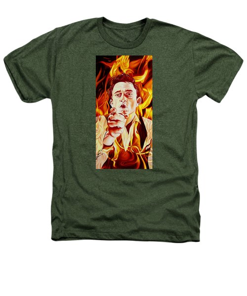 Johnny Cash And It Burns Heathers T-Shirt by Joshua Morton