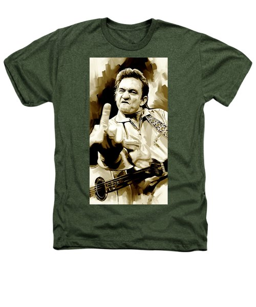 Johnny Cash Artwork 2 Heathers T-Shirt by Sheraz A