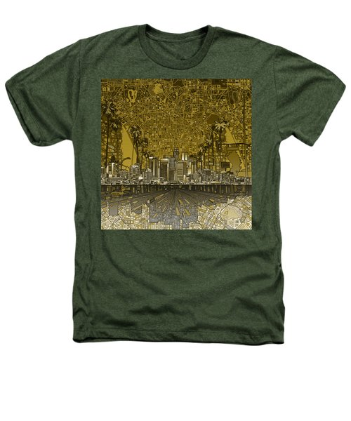 Los Angeles Skyline Abstract 4 Heathers T-Shirt by Bekim Art