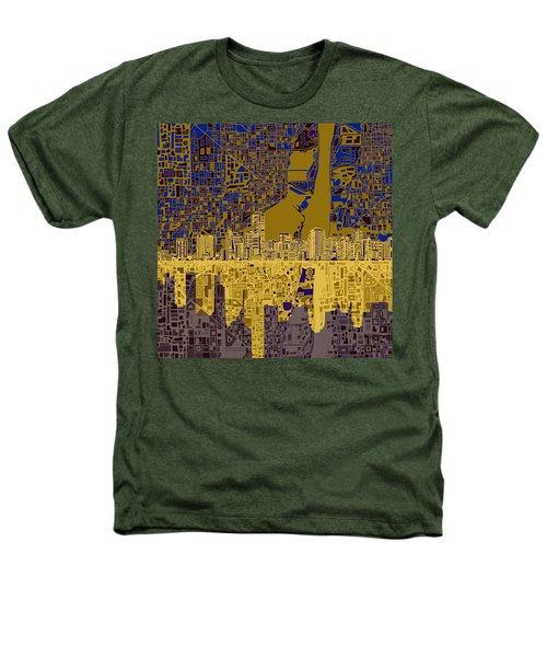 Miami Skyline Abstract 3 Heathers T-Shirt by Bekim Art