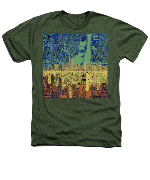 Miami Skyline Abstract 7 Heathers T-Shirt by Bekim Art