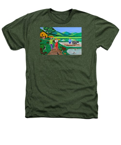 One Beautiful Morning In The Farm Heathers T-Shirt by Cyril Maza