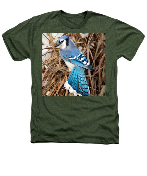 Portrait Of A Blue Jay Square Heathers T-Shirt by Bill Wakeley