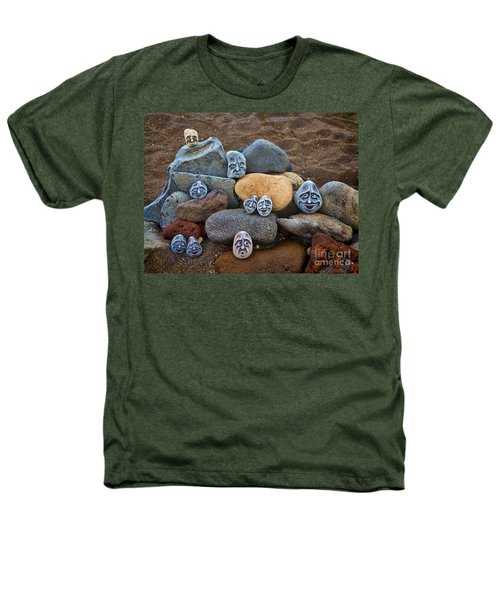 Rocky Faces In The Sand Heathers T-Shirt by David Smith