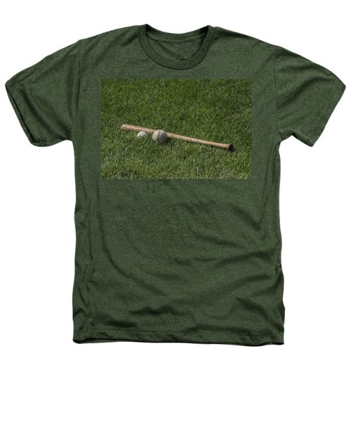 Softball Baseball And Bat Heathers T-Shirt by Bill Cannon