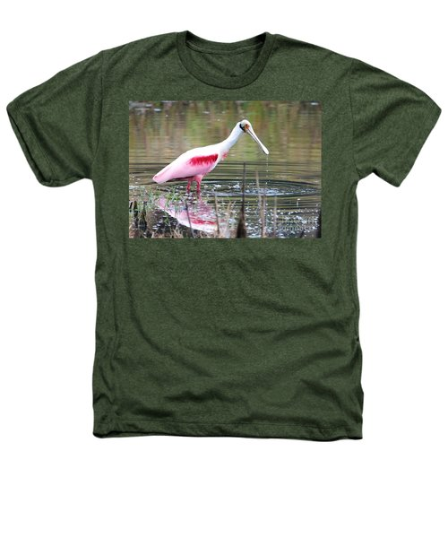 Spoonbill In The Pond Heathers T-Shirt by Carol Groenen