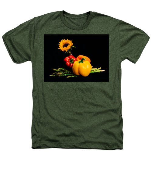Still Life Peppers Asparagus Sunflower Heathers T-Shirt by Jon Woodhams