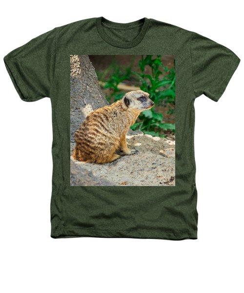 Watchful Meerkat Vertical Heathers T-Shirt by Jon Woodhams