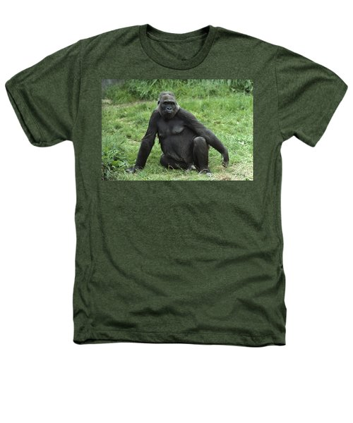 Western Lowland Gorilla Female Heathers T-Shirt by Gerry Ellis
