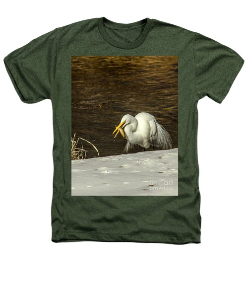 White Egret Snowy Bank Heathers T-Shirt by Robert Frederick