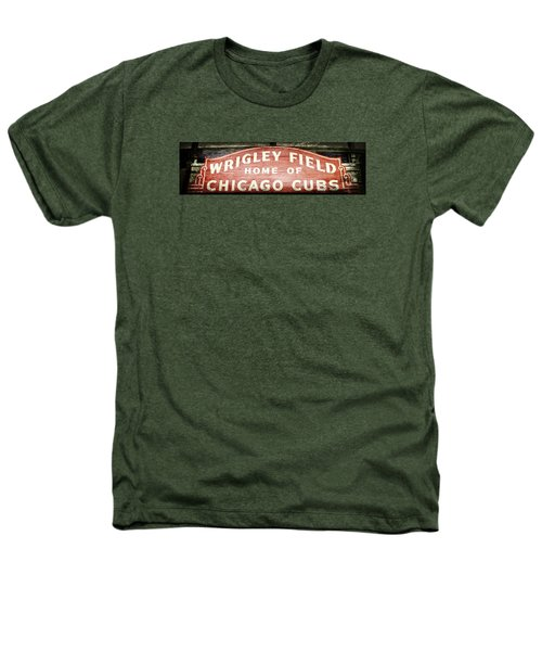 Wrigley Field Sign - No.2 Heathers T-Shirt by Stephen Stookey