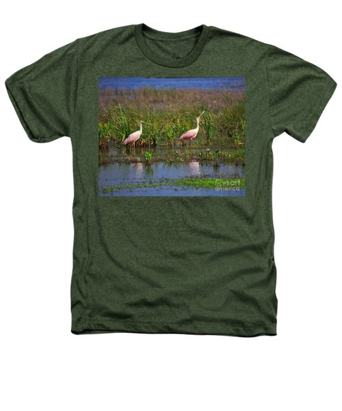 Roseate Spoonbills Heathers T-Shirt by Louise Heusinkveld