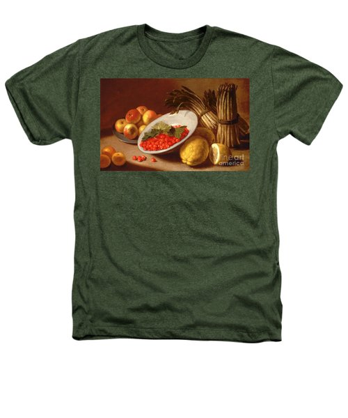 Still Life Of Raspberries Lemons And Asparagus  Heathers T-Shirt by Italian School