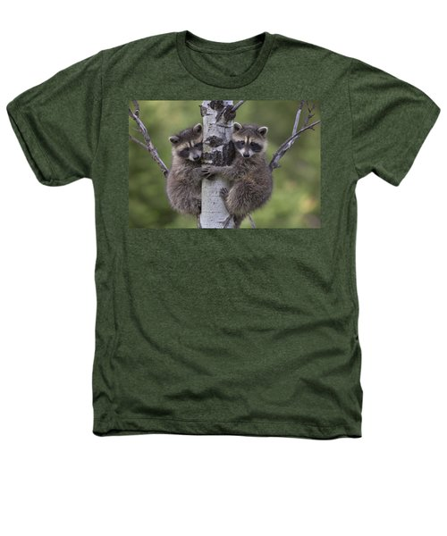 Raccoon Two Babies Climbing Tree North Heathers T-Shirt by Tim Fitzharris