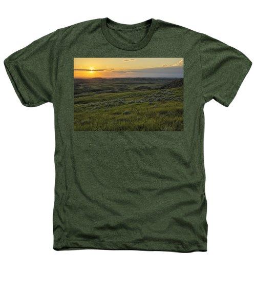Sunset Over Killdeer Badlands Heathers T-Shirt by Robert Postma