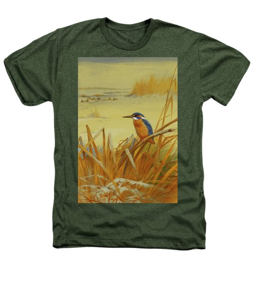 A Kingfisher Amongst Reeds In Winter Heathers T-Shirt by Archibald Thorburn