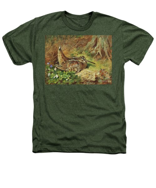 A Woodcock And Chicks Heathers T-Shirt by Archibald Thorburn