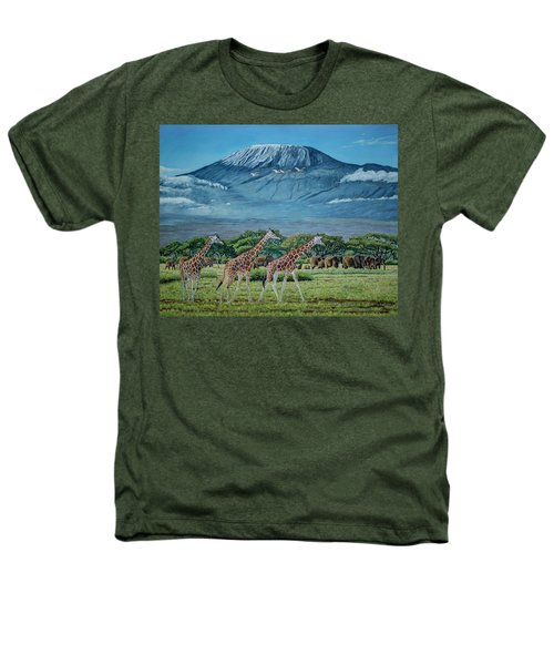 African Giants At Mount Kilimanjaro, Original Oil Painting 48x60 In On Gallery Canvas Heathers T-Shirt by Manuel Lopez