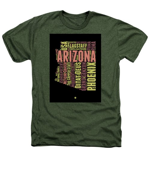 Arizona Word Cloud Map 1 Heathers T-Shirt by Naxart Studio