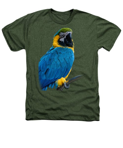 Blue Yellow Macaw No.2 Heathers T-Shirt by Mark Myhaver