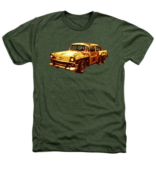 Roadrunner The Snake And The 56 Chevy Rat Rod Heathers T-Shirt by Chas Sinklier