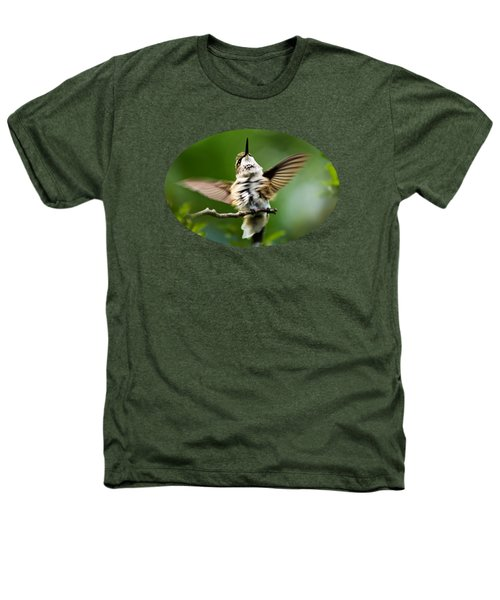 Hummingbird Happy Dance Heathers T-Shirt by Christina Rollo