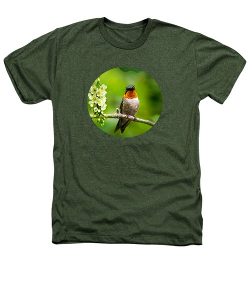 Male Ruby-throated Hummingbird With Showy Gorget Heathers T-Shirt by Christina Rollo