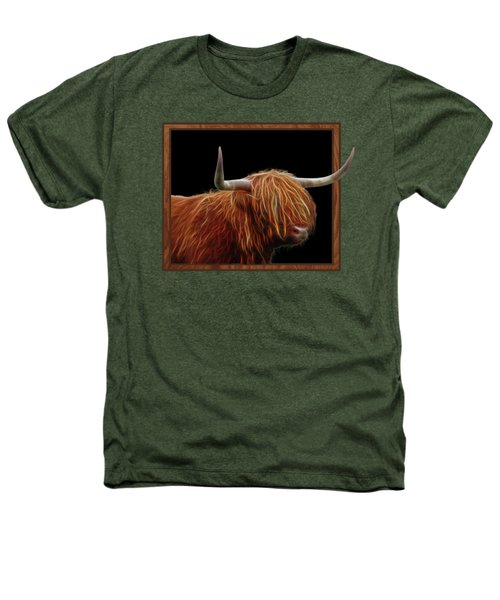Bad Hair Day - Highland Cow - On Black Heathers T-Shirt by Gill Billington