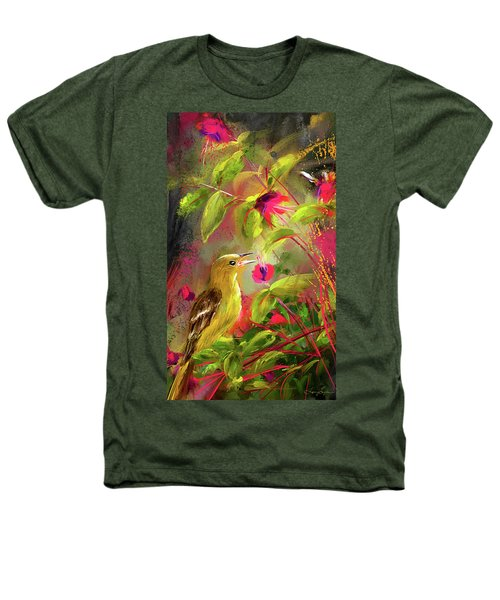 Baltimore Oriole Art- Baltimore Female Oriole Art Heathers T-Shirt by Lourry Legarde