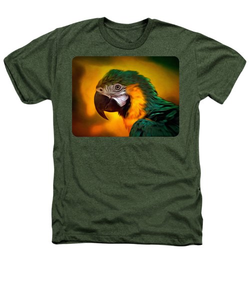 Blue Macaw Parrot Portrait Heathers T-Shirt by Linda Koelbel
