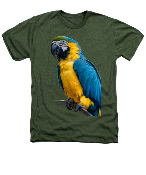 Blue Yellow Macaw No.1 Heathers T-Shirt by Mark Myhaver