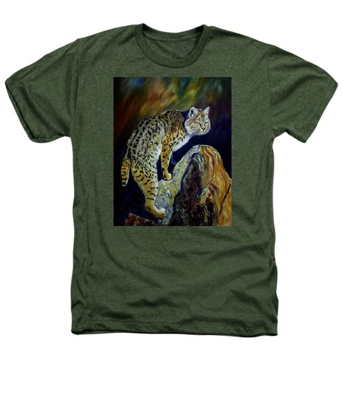 Bobcat At Sunset Original Oil Painting 16x20x1 Inch On Gallery Canvas Heathers T-Shirt by Manuel Lopez