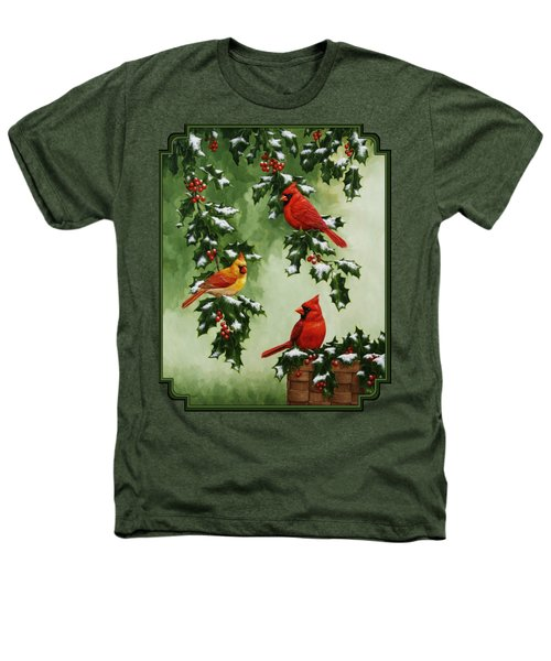 Cardinals And Holly - Version With Snow Heathers T-Shirt by Crista Forest