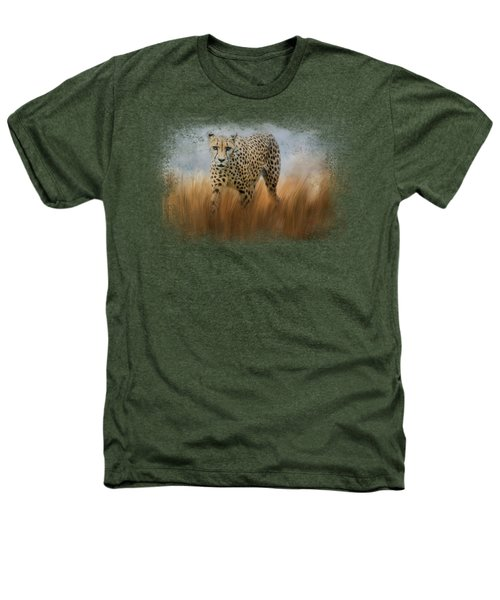 Cheetah In The Field Heathers T-Shirt by Jai Johnson