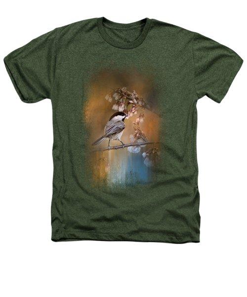 Chickadee In The Garden Heathers T-Shirt by Jai Johnson