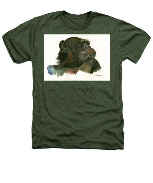 Chimp Portrait Heathers T-Shirt by Juan Bosco