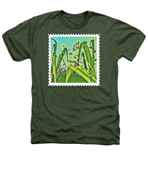 Cute Frog Camouflaged In The Garden Jungle Heathers T-Shirt by Elaine Plesser