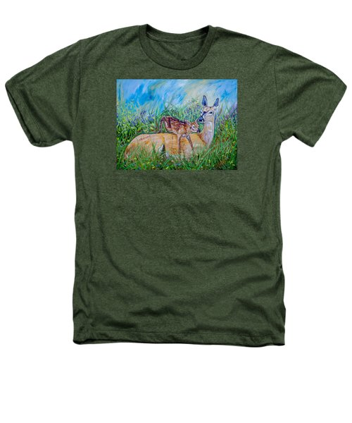 Deer Mom And Babe 24x18x1 Oil On Gallery Canvas Heathers T-Shirt by Manuel Lopez