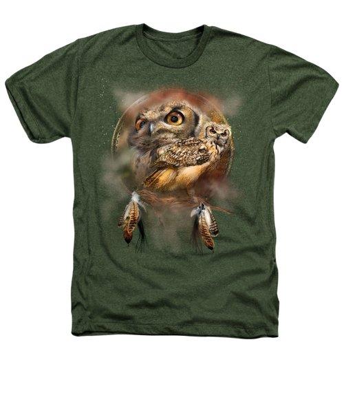 Dream Catcher - Spirit Of The Owl Heathers T-Shirt by Carol Cavalaris