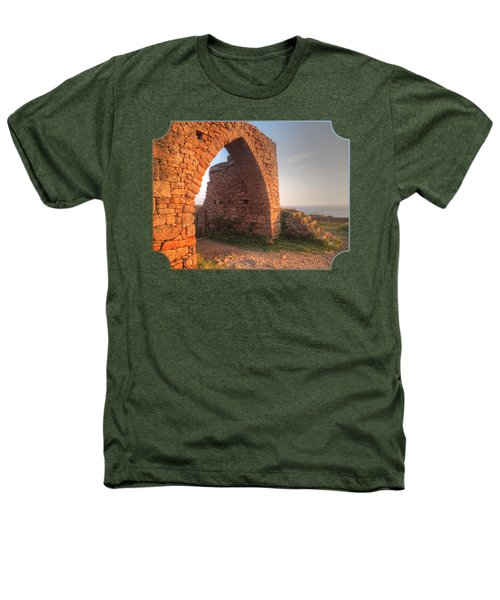 Evening Light On Grosnez Castle Ruins Jersey Heathers T-Shirt by Gill Billington