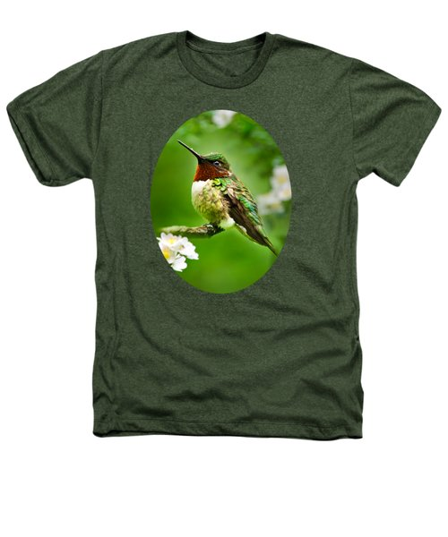 Fauna And Flora - Hummingbird With Flowers Heathers T-Shirt by Christina Rollo