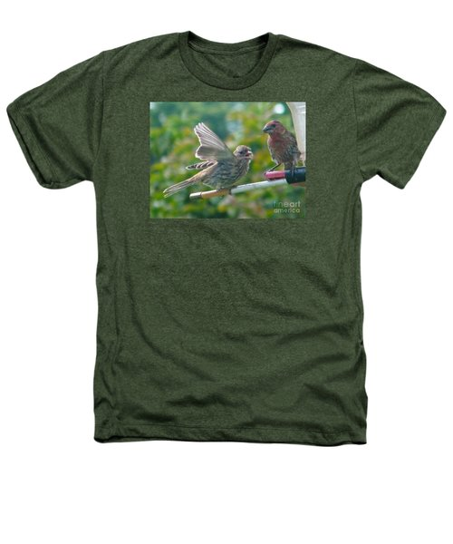 Female And Male Crossbills    August  Indiana Heathers T-Shirt by Rory Cubel