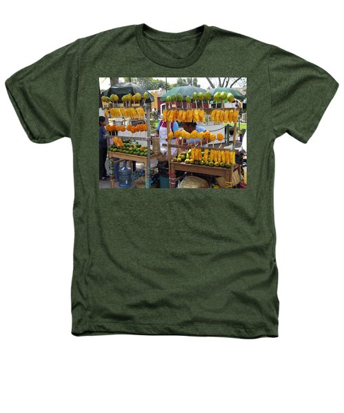 Fruit Stand Antigua  Guatemala Heathers T-Shirt by Kurt Van Wagner