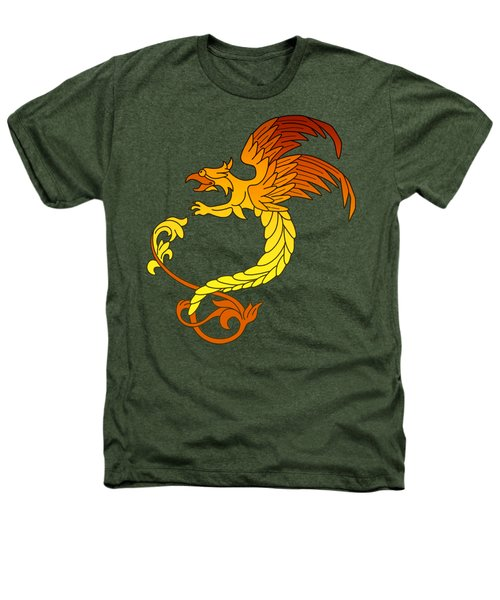Griffin Griffon Gryphon In Flaming Colours Heathers T-Shirt by Heidi De Leeuw