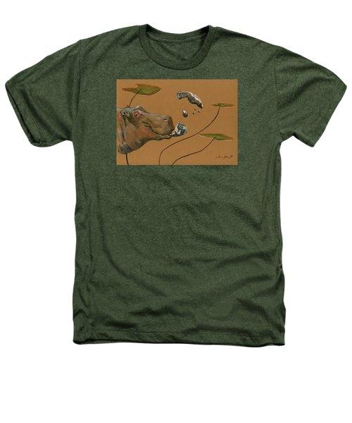Hippo Bubbles Heathers T-Shirt by Juan  Bosco