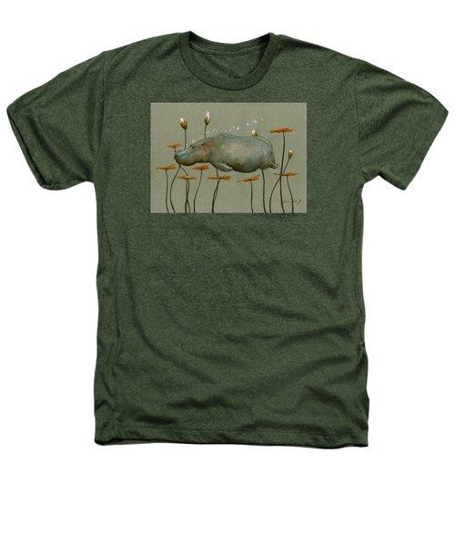 Hippo Underwater Heathers T-Shirt by Juan  Bosco