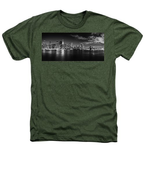 Manhattan Skyline At Night Heathers T-Shirt by Az Jackson